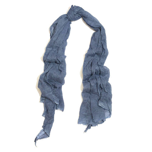 100% Cotton Navy Colour Scarf (Size 220x100 Cm)