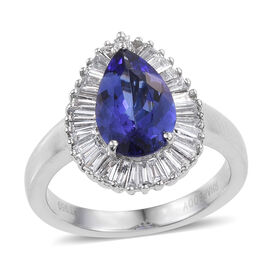 RHAPSODY 950 Platinum AAAA Tanzanite (Pear 2.15 Ct), Diamond Ring 2.900 Ct.