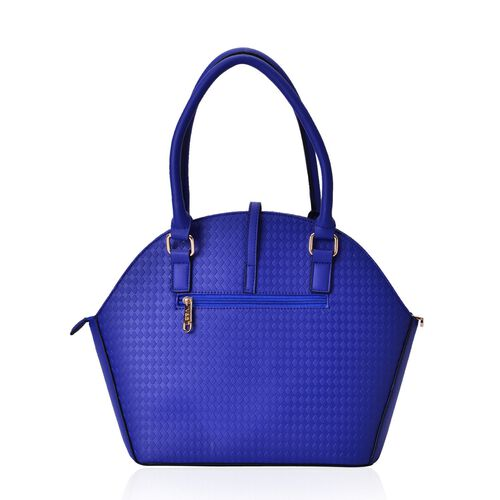 Diamond Pattern Blue Colour Tote Bag (Size 39x29.5x14 Cm)
