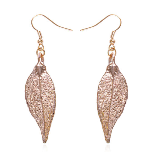 Real Evergreen Leaf Hook Earrings Dipped in Rose Gold