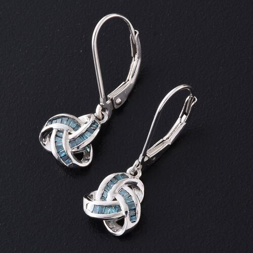 Blue Diamond (Bgt) Triple Knot Lever Back Earrings in Platinum Overlay Sterling Silver 0.250 Ct.