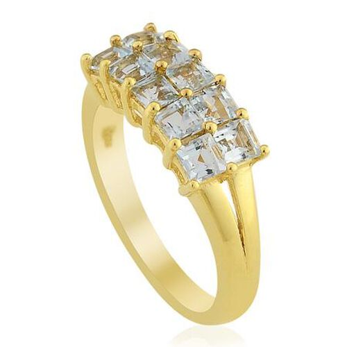KARIS Swiss Blue Topaz (1.75 Ct) Gold Bond Brass Ring