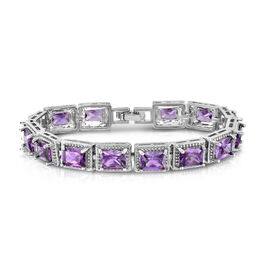 JCK Vegas Collection AAA Simulated Amethyst (Oct) Bracelet (Size 7) in Silver Bond