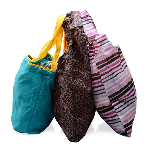 Set of 3 - Leopard Pattern, Pink, Brown and Purple Stripy Pattern and Turquoise Colour Hand Bag (Size 40x37, 40x37, 42x33 Cm)