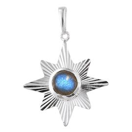 Artisan Crafted Madagascar Labradorite (Rnd) Star Pendant in Sterling Silver