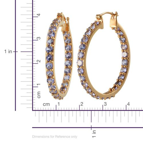 Tanzanite (Rnd) Hoop Earrings (with Clasp Lock) in 14K Gold Overlay Sterling Silver 5.750 Ct.