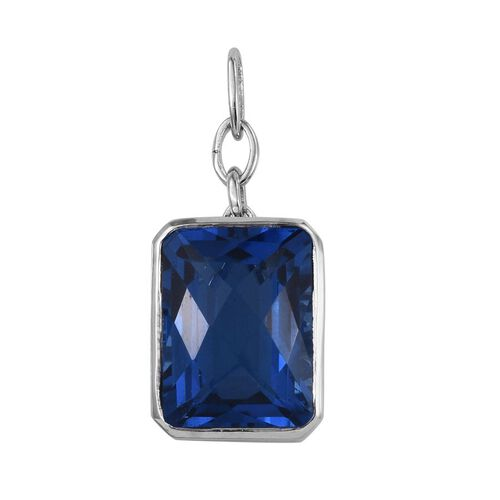 Checkerboard Cut Ceylon Colour Quartz (Oct) Pendant in Platinum Overlay Sterling Silver 17.000 Ct.