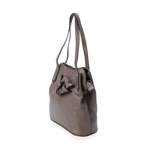 Dark Grey Colour Tote Bag (Size 30x29x13 Cm)
