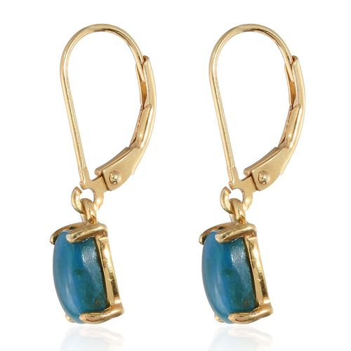 Opalina (Cush) Lever Back Earrings in 14K Gold Overlay Sterling Silver 2.500 Ct.