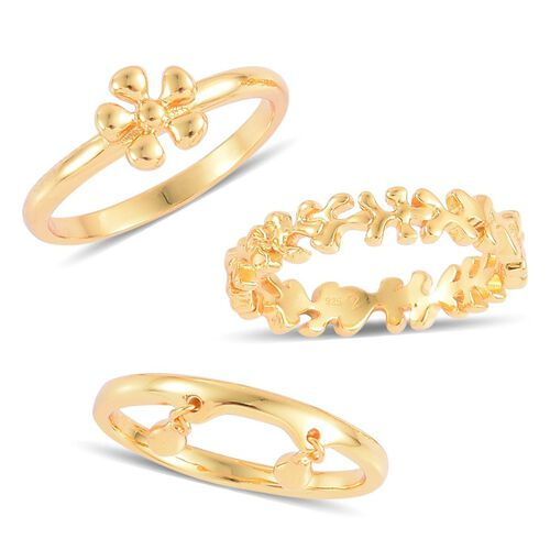 Set of 3 - LucyQ Splat and Double Drip Ring in Yellow Gold Overlay Sterling Silver 6.97 Gms.