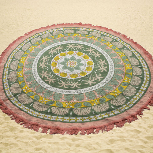 100% Cotton Green, Yellow and Pink Colour Palm Trees Printed Round Beach Rug with Fringes (Size 140 Cm Diameter)