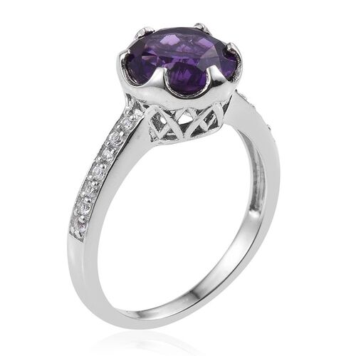 Lusaka Amethyst (Rnd 3.50 Ct), White Topaz Ring in Platinum Overlay Sterling Silver 3.750 Ct.