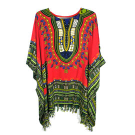 Bali Collection - 100% Rayon Red and Multi Colour Mandala Ethnic Motif Poncho (Free Size)