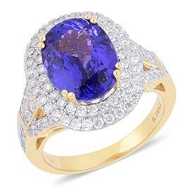 ILIANA 18K Y Gold AAA Tanzanite (Ovl 6.50 Ct), Diamond (SI/G-H) Ring  7.770 Ct.