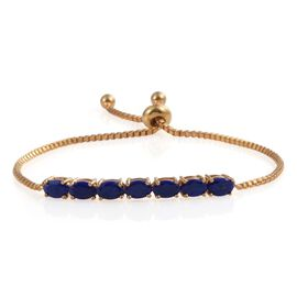 Lapis Lazuli (Ovl) 7 Stone Adjustable Bracelet (Size 7 to 8) in ION Plated 18K Yellow Gold Bond 3.500 Ct.