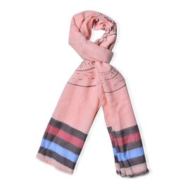 Black, Blue and Red Colour Stripe and Coin Pattern Pink Colour Scarf (Size 180x70 Cm)