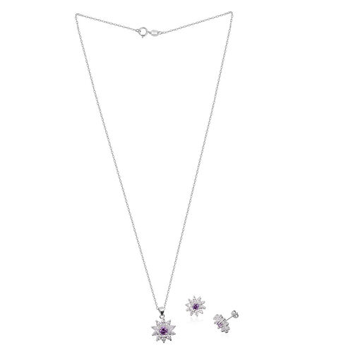 ELANZA AAA Simulated Amethyst (Rnd), Simulated Diamond Pendant With Chain and Stud Earrings (with Push Back) in Rhodium Plated Sterling Silver