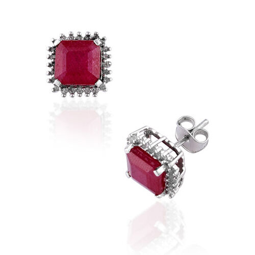 Celebrity African Ruby (5.50 Ct),White Topaz Platinum Overlay Sterling Silver Earring  5.750  Ct.