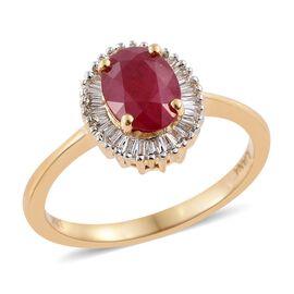 ILIANA 18 K Y Gold AAA Burmese Ruby (Ovl 1.10 Ct), Diamond (SI/G-H) Ring 1.250 Ct.