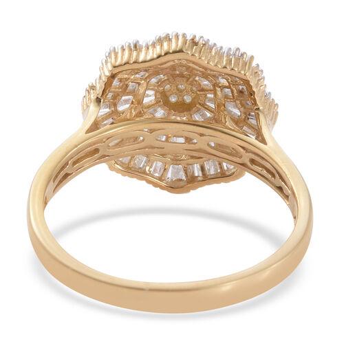 Diamond (Rnd) Ballerina Ring in 14K Gold Overlay Sterling Silver 1.150 Ct.