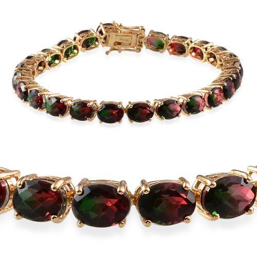 Tourmaline Colour Quartz (Ovl) Bracelet in 14K Gold Overlay Sterling Silver (Size 8) 31.000 Ct.