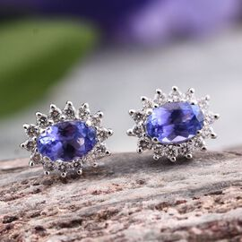 ILIANA 18K W Gold AAA Tanzanite (Ovl), Diamond Stud Earrings (with Screw Back) 1.250 Ct.