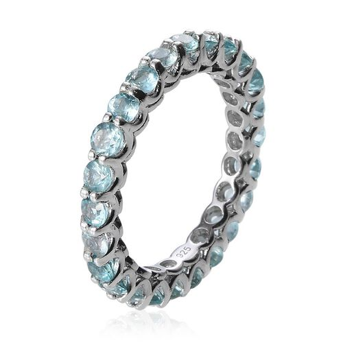 AA Paraibe Apatite (Rnd) Full Eternity Ring in Platinum Overlay Sterling Silver 2.500 Ct.