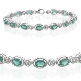 Kagem Zambian Emerald (Ovl), White Topaz Fashion Bracelet in Platinum Overlay Sterling Silver (Size 8) 6.50 Ct.