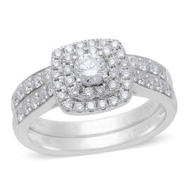 ILIANA 18K W Gold IGI Certified Diamond (Rnd) (S I/G-H) 2 Ring Set 1.000 Ct.