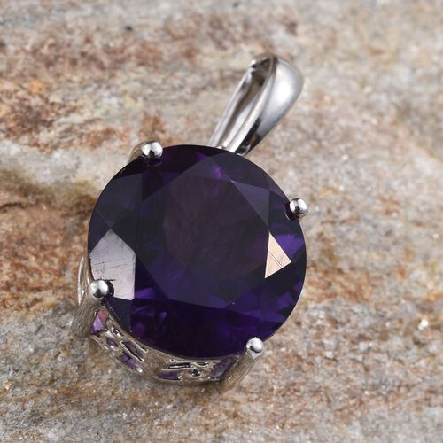 9K W Gold AAA Zambian Amethyst (Rnd) Solitaire Pendant 6.000 Ct.