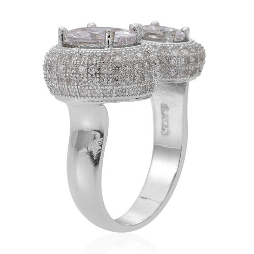ELANZA AAA Simulated Diamond (Ovl) Ring in Rhodium Plated Sterling Silver