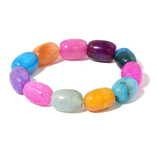 One Time Deal-Rare Size Multi Agate Necklace (Size 18 with 2 inch Extender) and Stretchable Bracelet (Size 7.5)  765.00 Ct.