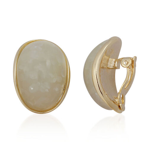 Simulated Yellow Stone Clip On Earrings in Gold Tone