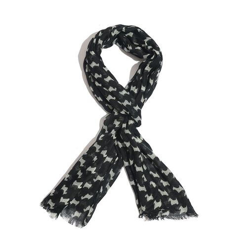 50% Wool and 50% Modal Goat Pattern Black and White Colour Woven Scarf (Size 175x70 Cm)