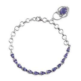 Tanzanite (Ovl 1.25 Ct) Bracelet (Size 7) in Platinum Overlay Sterling Silver 3.750 Ct.