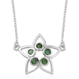 Kimberley Lotus Spice Collection - Kagem Zambian Emerald (Rnd) 5 Stone Star Pendant in Platinum Overlay Sterling Silver