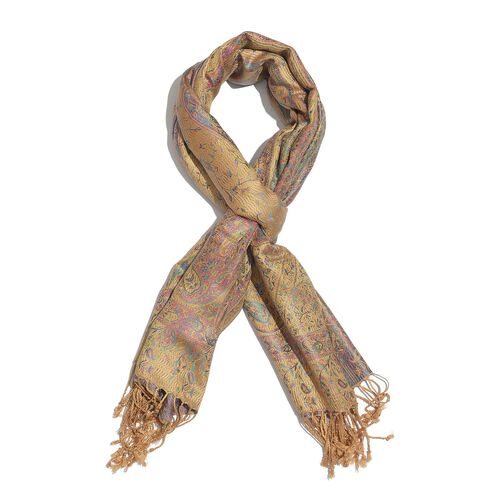 SILK MARK - 100% Superfine Silk Multi Colour Paisley and Leaves Pattern Honey Colour Jacquard Jamawar Scarf with Fringes (Size 180x70 Cm) (Weight 125-140 Grams)