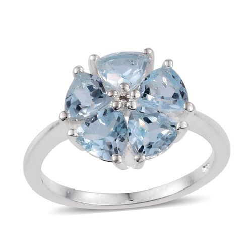 Sky Blue Topaz (Trl), Diamond Ring in Sterling Silver 2.510 Ct.