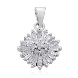 9K W Gold SGL Certified (G to H colour and I3 Clarity) Diamond (Rnd) Floral Pendant 0.330 Ct.