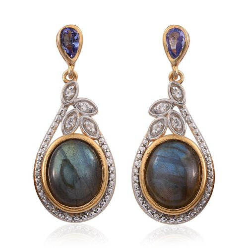 Labradorite (Ovl), Tanzanite and White Topaz Earrings (with Push Back) in 14K Gold Overlay Sterling Silver 8.500 Ct.