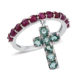 9K White Gold 2 Carat Burmese Ruby, Kagem Zambian Emerald Cross Charm Ring.