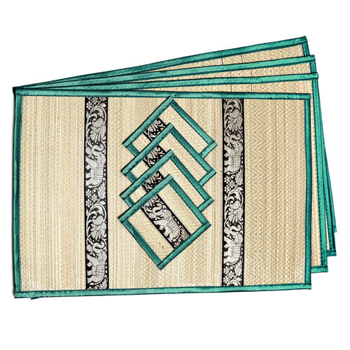 Traditional Thai Pattern Emerald Bamboo Wicker Placemat (12x18) and Coaster (5x5) Set