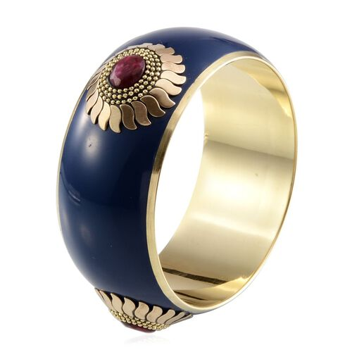 Jewels of India Blue and  Ruby Bangle (Size 65 MM - Red)