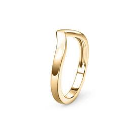 Wishbone V Shape Stacker Silver Ring in Gold Overlay