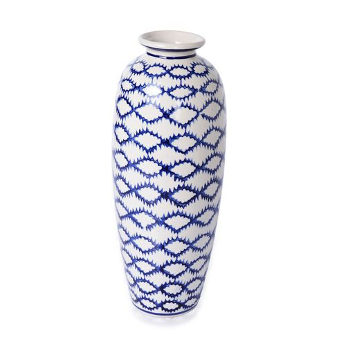 Classic Chinese Blue Colour Wave Pattern White Colour Flower Vase (Size 30 Cm)