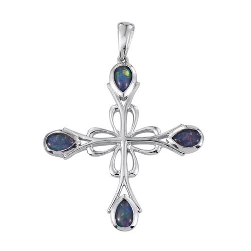 Australian Boulder Opal (Pear) Cross Pendant in Platinum Overlay Sterling Silver 1.250 Ct.