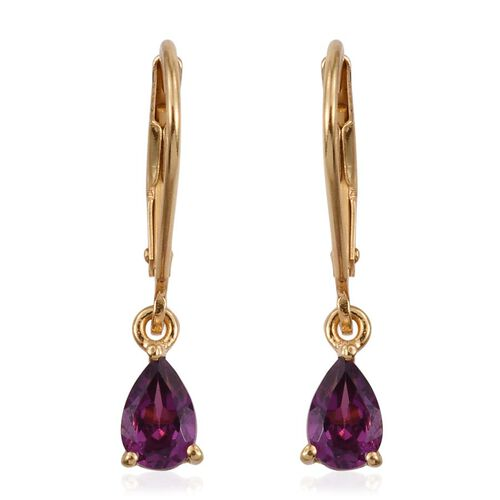 Rare Mozambique Grape Colour Garnet (Pear) Lever Back Earrings in 14K Gold Overlay Sterling Silver 1.000 Ct.
