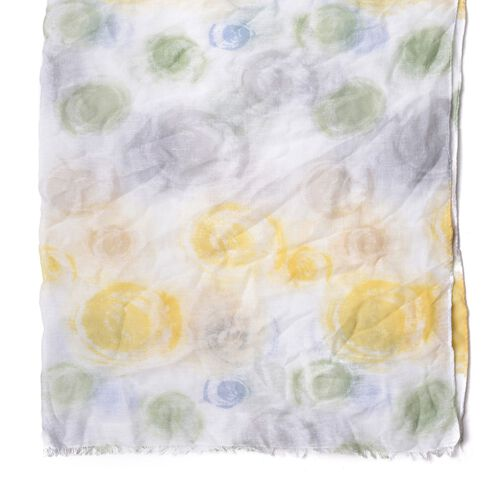 Grey, Green and Yellow Colour Vortex Pattern White Colour Scarf (Size 180x90 Cm)