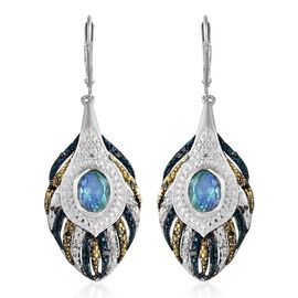 Peacock Quartz (Ovl), Blue and White Diamond Lever Back Earrings in Platinum Overlay Sterling Silver 3.250 Ct.