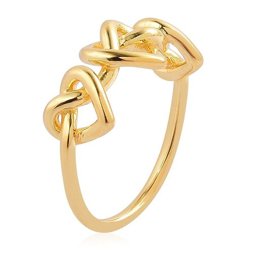 LucyQ Triple Entwine Ring in Yellow Gold Overlay Sterling Silver 3.70 Gms.